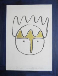 Kopf mit blauem Rand
