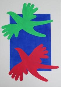 Zwei Vögel rot und blau