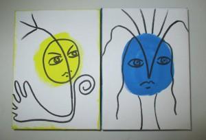 blauer und roter Kopf